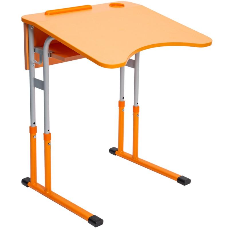 Banca scolara antiscolioza individuala Eliss PRO cu inaltime reglabila, teava rotunda, Orange / Gri