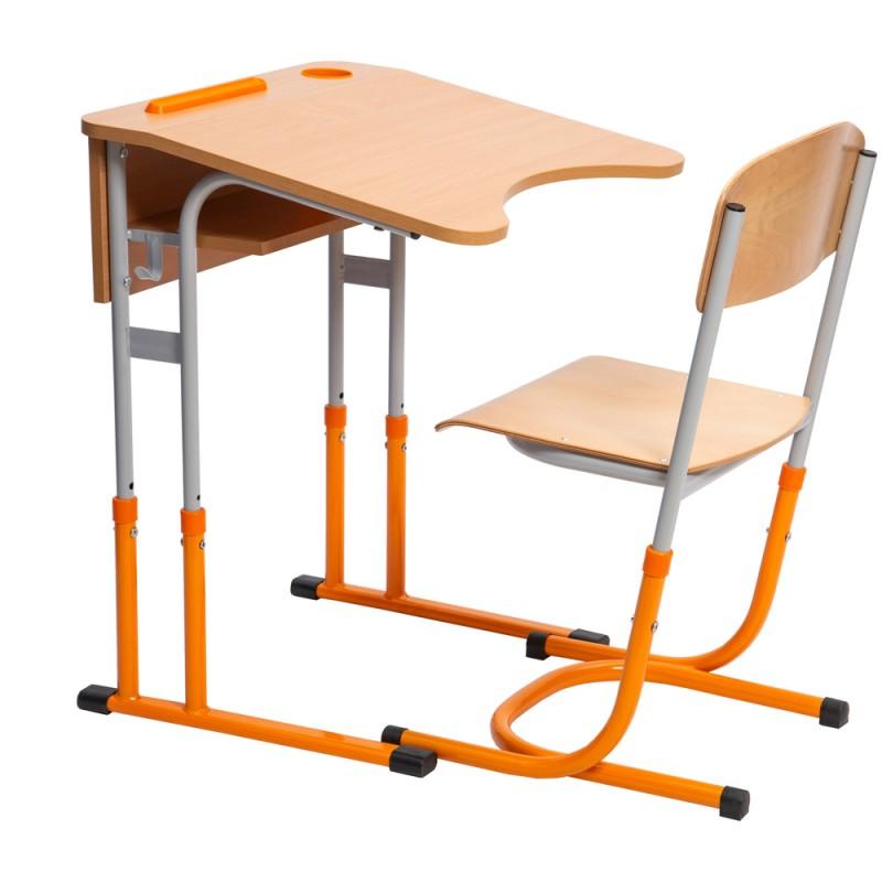 Set banca scolara antiscolioza individuala Eliss cu inaltime reglabila, teava rotunda, Orange / Gri