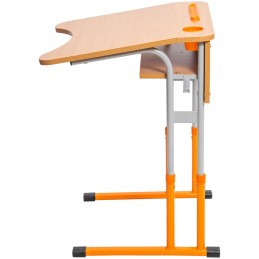 Banca scolara antiscolioza individuala Eliss cu inaltime reglabila, teava rotunda, Orange / Gri