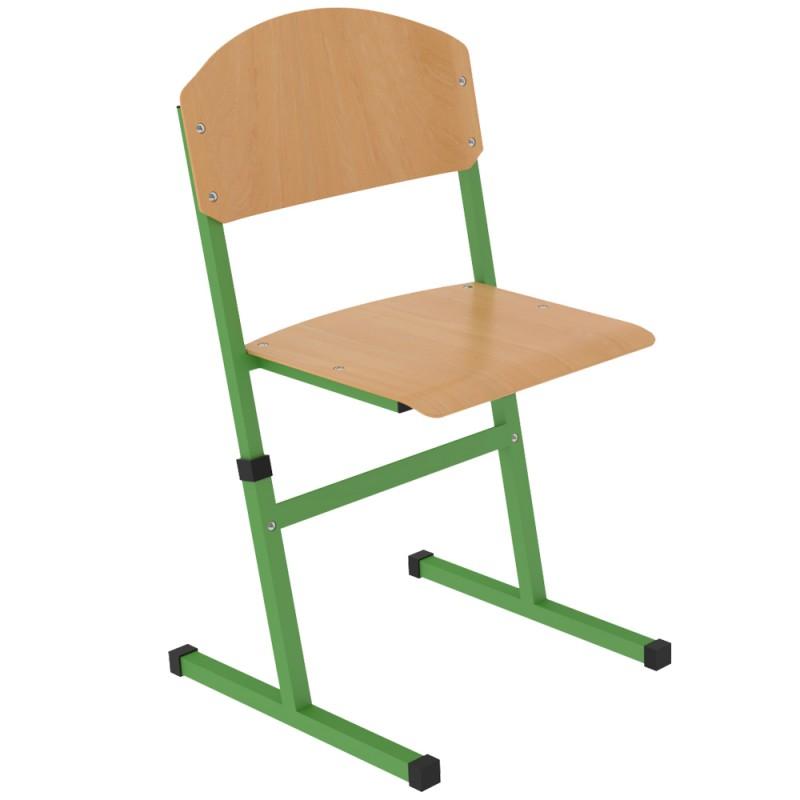 Scaun scolar SCF cu teava patrata, inaltime reglabila, Verde