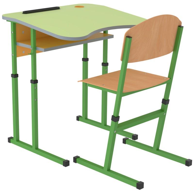 Set banca scolara antiscolioza individuala Eliss cu inaltime reglabila, teava patrata, Verde