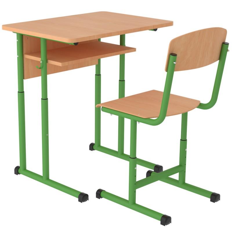 Set banca scolara individuala Zibi cu inaltime reglabila, teava rotunda, Verde